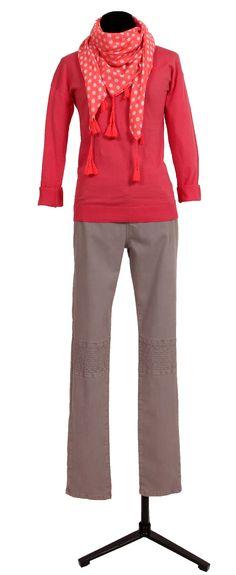 1.2.3 Paris - Pull Dream 65€  Pantalon Darina 99€  Foulard Kenza 29€ #rose #fuchsia #cheche #pompons #casual #123 #mode #printemps
