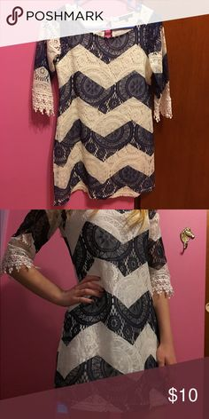 Chevron Dress Size 14 in kids but fits like a XS/S. I typically wear a XS-M and it fits me as shown in the second picture. Dresses Mini