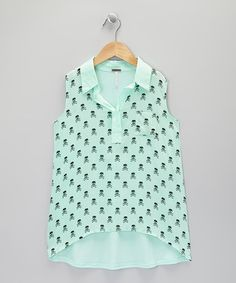 Take a look at this Mint Skull Sleeveless Top by Poof! on #zulily today!