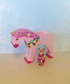 In Stock: Valentine's Day Themed Chunky Pink Horse with 1 Pink Flower Fairy Peg Doll