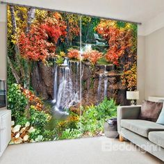 3D Water Flow Print  Living Room&Bedroom Curtain on sale, Buy Retail Price 3D Scenery Curtains at Beddinginn.com