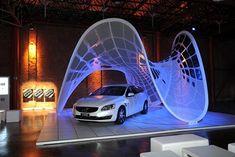 Volvo solar canopy and V60 Plug-in Hybrid in Milan