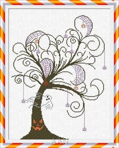 Halloween Tree fall cross stitch chart AAN Alessandra Adelaide Needleworks $14.17