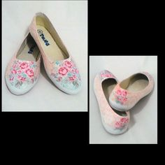 Decoupage on canvas shoes