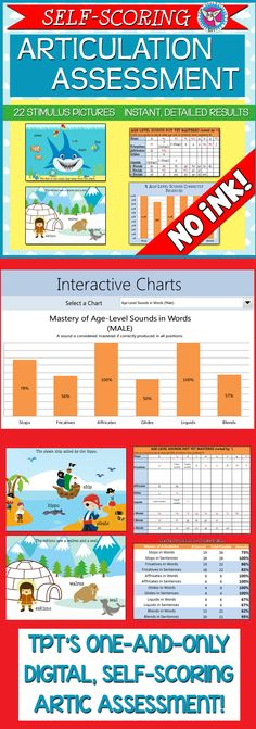 "This is a complete, electronic articulation assessment that targets American English phonemes in words and sentences. It contains 22 stimulus images to elicit target sounds and an Excel scoring workbook.  Using the Excel workbook is simple: Enter the student's DOB and gender, a ""1"" for correct and a ""0"" for incorrect, and you're done!"