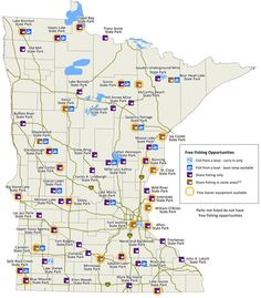 Map of Minnesota showing which state parks have free shore fishing, free fishing from a boat, or free loaner equipment. Bay Lake, Camping Stuff, Free In, Biking, Iowa, State Parks, Minnesota, Maps, Trucks