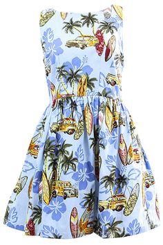 ROMWE | Blue Plam Print Backless Dress