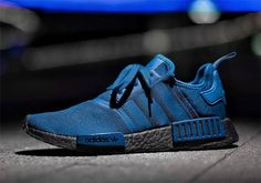 The black BOOST sole is the foundation for this upcoming adidas NMD release. The silhouette is otherwise dressed in a shade of blue for the occasion ove Adidas Nmd Blue, Adidas Nmd Outfit, Cheap Adidas Nmd, Adidas Nmds, Adidas Shoes Nmd, Cute Sneakers, Casual Sneakers, Sneakers Fashion, Casual Shoes