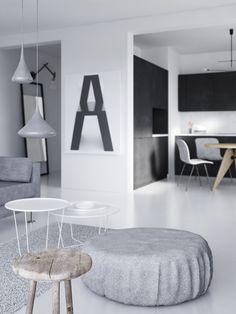 Calm white and grey interior via Coco Lapine Design blog.