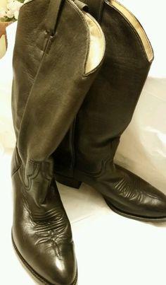 Larry Mahan Boots Western Cowboy Soft Black Leather Size 9.5 USA #LarryMahan #CowboyWestern