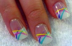 Spring nails or Easter Nails~really you could do this with pretty much any color combos Easter Nail Designs, Easter Nail Art, French Nail Designs, Nail Designs Spring, Fingernail Designs, Toe Nail Designs, Nails Design, Nagellack Design, Nailart