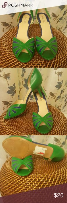 Nine west heels Green and blue Nine West heels. Small heel tiny scuff on front see image. Worn once. Size 8, but fits more like a 7.5 Nine West Shoes Heels