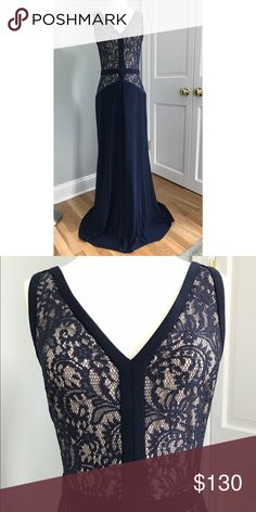 Ralph Lauren Evening Gown Navy blue evening gown with a lace bodice and nude underlay. Never worn or hemmed. Lauren Ralph Lauren Dresses