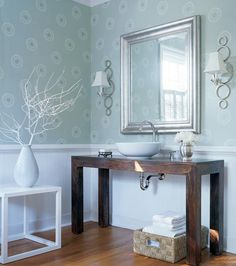 Wallpaper in the Bathroom?  Yes! Thibaut's Kaleidoscope wallpaper in Aqua #Thibaut