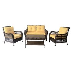 Hanover San Marino 6 Piece All Weather Wicker Patio