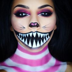 """Cheshire Cat Halloween makeup look! I also filmed a tutorial ! The link is i… ""Cheshire Cat Halloween makeup look! I also filmed a tutorial ! The link is in my bio ✨ This look was so many layers but it looked so simple lol I saw a…"" Cat Halloween Makeup, Halloween Makeup Looks, Saw Halloween Costume, Leopard Halloween, Cheshire Cat Makeup, Cheshire Cat Face Paint, Cheshire Cat Halloween Costume, Cheshire Cat Cosplay, Alice Halloween"