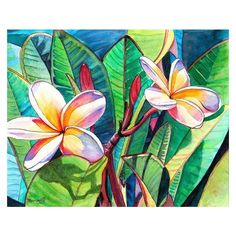 Kauai Plumeria Garden print 8x10 from Kauai Hawaii ❤ liked on Polyvore featuring home, home decor, wall art, garden wall art, unframed wall art, giclee wall art, floral watercolor paintings and ink painting
