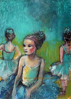 "Three Ballerinas- 9""x12"" Fine Art Reproduction  by Maria Pace-Wynters"