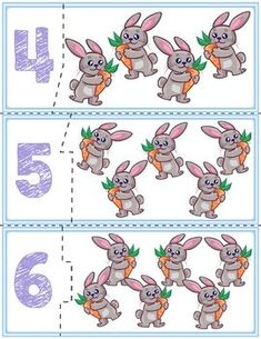 $1 | Teach counting skills with Spring Bunnies! Great for teaching 1:1 counting skills and number recognition for numbers 1-12. #preschool #preschoolers #preschoolactivities #kindergarten #Homeschooling #mathcenters #spring #easter