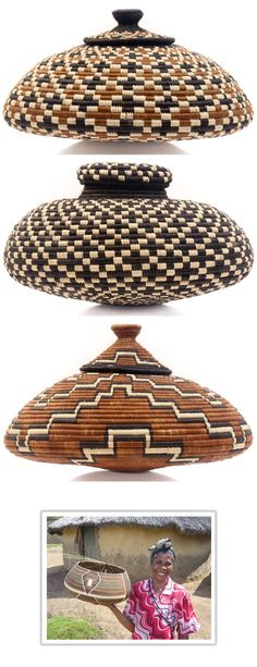 These beautiful and unusually shaped baskets are made by a Zulu weaver in South Africa who creates amazing geometric designs. #FairTrade #Geometric #Zulu