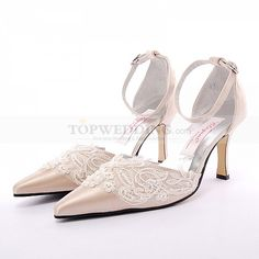 Champagne Pointy Toes High Heel Bridal Shoes with Pearl Detailed Applique