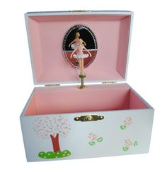 Every little girls dream of becoming a ballerina is wrapped up in the adorable ballerina musical jewelry box. The box measures 3H x 4W x 6L and