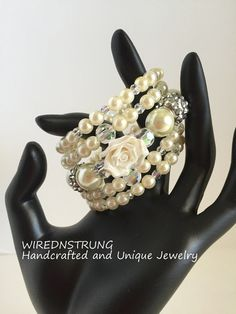 Bridal Pearl Bracelet Wedding Bracelet Crystal by WirednStrung