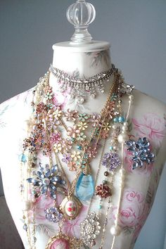 shabby chic vintage jewelry and roses dress form