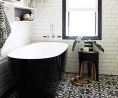 The bathroom in this 19th century cottage is beautiful while also being conscious of the environment.