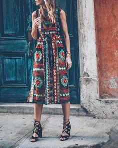 Jess Kirby wearing the Anthropologie Eva Franco Embroidered Midi Dress and Lace Up Heels in Panama City Spring Summer Fashion, Spring Outfits, Lace Midi Dress, Midi Dresses, Buy Dress, Fashion Outfits, Womens Fashion, Passion For Fashion, Dress To Impress
