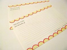 Recipe Cards. Don't know about the colours, but I do love the scalloped edge.