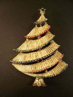 Gerry's Gold Tone Christmas Tree w Red Green Brooch | eBay