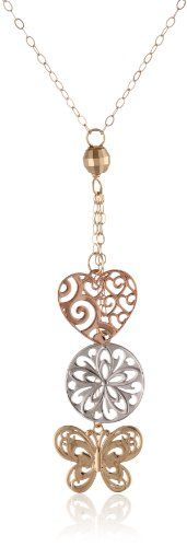 """Duragold 14k Gold Tri-Color Heart, Butterfly, and Disc Lariat Necklace, 17"""" Has :               (7)       Good Reviews From Customers. Check All Reviews, Details, Features, and How To Get it with Best Price/Discount Here:   http://short.shopingzon.com/zt4xo"""