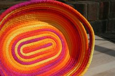 Fabric Coiled Bowl Coiled Fabric Basket  Sunset by snugglymonkeyco, $15.00
