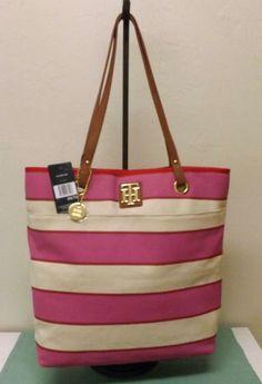 New Tommy Hilfiger Pink Stripe N s Tote Bag Purse | eBay