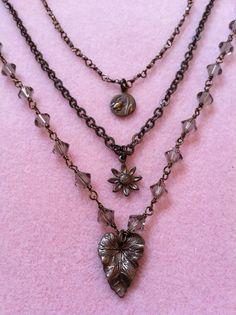 Brass & Swarovski 3 Strand Necklace