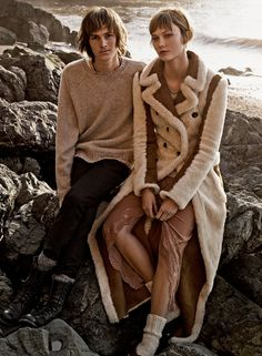 Dylan Brosnan with Karlie Kloss in a coat and skirtby Clare Waight Keller for Chloé