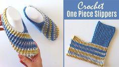 Crochet Easy One Piece Slippers Crochet Sock Pattern Free, Crochet Slipper Pattern, Crochet Stitches Patterns, Crochet Patterns For Beginners, Free Crochet, Easy Crochet Slippers, Crochet Socks, Crochet Shawl, Crochet One Piece