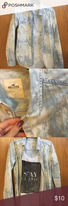 Acid wash Hollister denim button up Soft denim, acid wash button up, worn a couple times and in great condition Hollister Jackets & Coats