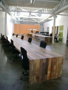 conference room table out of reclaimed wood.. I never thought of doing the legs like the tabletop. Coffee table?