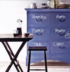 chalkboard dresser - I love this idea!  This would also be a cool idea for stair risers - numbering them in different languages or writing a poem on them...