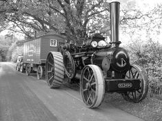 Fowler ploughing engine with live-in van