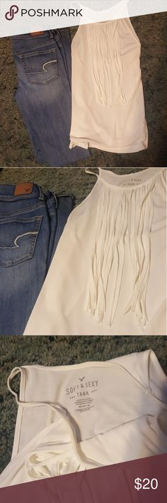 AE Fringe Tank NEW WITHOUT TAGS NEVER WORN. American Eagle white fringe tank American Eagle Outfitters Tops Tank Tops