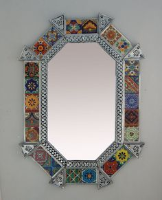 :D❤️Mexican Punched Tin Oval Octagonal MIRROR Mixed Talavera Tile Mexican 228 Silver