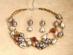 "$22 ES536 - 3 Strand Silvertone & Chocolate Faux Pearl Set 17-21"""