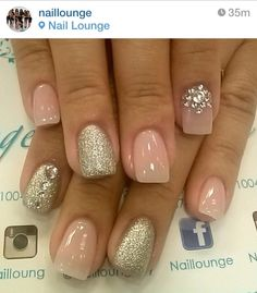 Natural Soft pink nails with silver sparkling accents and rhinestones French Nails Glitter, Fancy Nails, Bling Nails, Love Nails, My Nails, Sparkle Nails, Gold Glitter, Fabulous Nails, Gorgeous Nails
