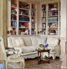 Living room corner banquette with bookshelves and sconces Banquettes, Living Area, Living Spaces, Living Rooms, Small Living, Cozy Library, Library Corner, Library Room, Corner Banquette