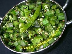 Bhendi Curry - Bendakaya Iguru Koora - Okra Curry- బెండకాయ ఇగురు కూర  Exhaustive recipe text in English available on  http://www.gayatrivantillu.com/recipes-2/curries-1/bendakaya-iguru-koora  Ingredients: Okra – 500gms (To Make Curry Spicy, Use Green Chilies Or Red Chilies Or Red Chili Flakes) Green Chilies – 5 (Slit Them)  Or Red Chilies – 2 (Break them into pieces)      Or Red Chili Flakes – 1tsp Black Gram – 2tsps Mustard Seeds – 1tsp Cumin Seeds – 1tsp Curry Leaves – Few Oil – 4tsps