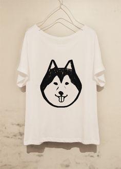 自分らしい合わせ方を見つけたい♡おちゃめなハスキー犬プリントのラブリー☆彡Tシャツ☆彡