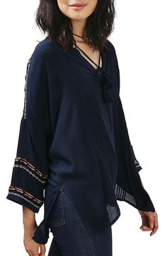 Topshop Embroidered Long Sleeve Tunic available at #Nordstrom